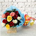 11 Mix Roses with Blue Non Woven Paper Packing by FNP