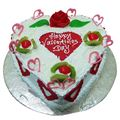 Happy Valentine's Day White Forest Cake (1 Kg) from Chefs Bakery